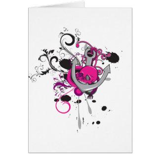 pink gothic skull and anchor vector art design greeting card