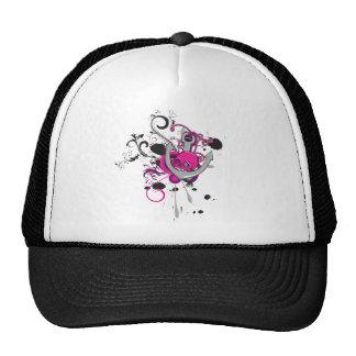 pink gothic skull and anchor vector art design trucker hat