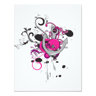 pink gothic skull and anchor vector art design 4.25x5.5 paper invitation card