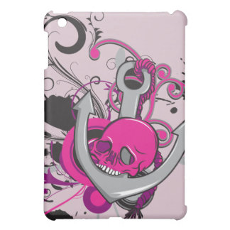 pink gothic skull and anchor vector art design iPad mini covers