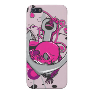 pink gothic skull and anchor vector art design cover for iPhone 5