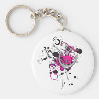 pink gothic skull and anchor vector art design basic round button keychain