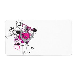 pink gothic skull and anchor vector art design shipping label
