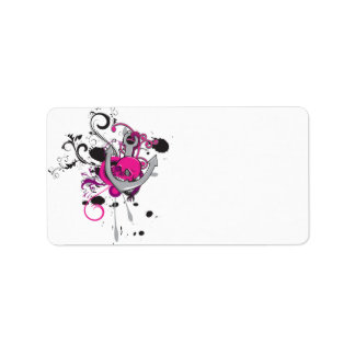 pink gothic skull and anchor vector art design address label