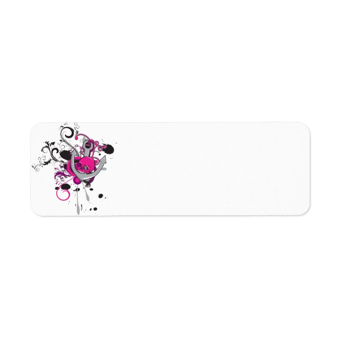 pink gothic skull and anchor vector art design label