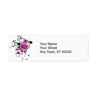 pink gothic skull and anchor vector art design return address label