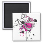 pink gothic skull and anchor vector art design magnets