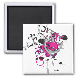 pink gothic skull and anchor vector art design 2 inch square magnet