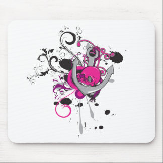 pink gothic skull and anchor vector art design mouse pad