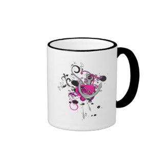 pink gothic skull and anchor vector art design ringer coffee mug