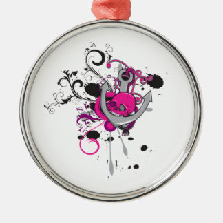 pink gothic skull and anchor vector art design round metal christmas ornament