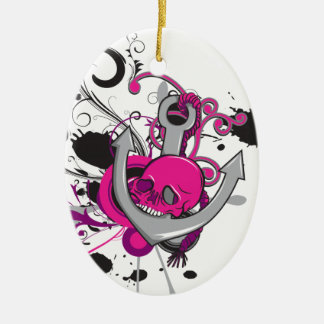pink gothic skull and anchor vector art design Double-Sided oval ceramic christmas ornament
