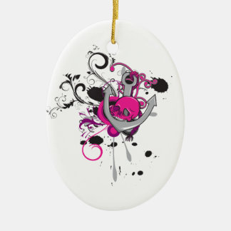 pink gothic skull and anchor vector art design ornament