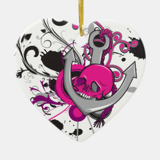 pink gothic skull and anchor vector art design Double-Sided heart ceramic christmas ornament