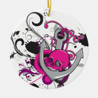 pink gothic skull and anchor vector art design Double-Sided ceramic round christmas ornament