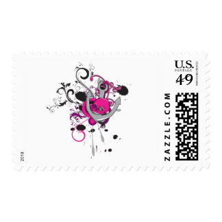 pink gothic skull and anchor vector art design stamps