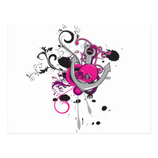 pink gothic skull and anchor vector art design postcard