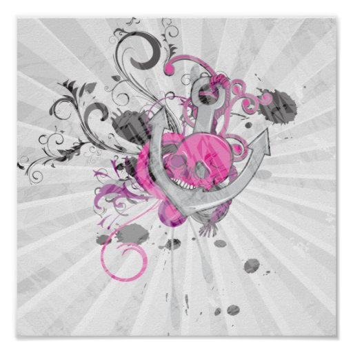 pink gothic skull and anchor vector art design poster