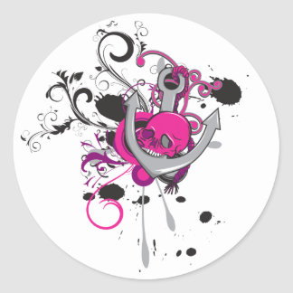 pink gothic skull and anchor vector art design classic round sticker