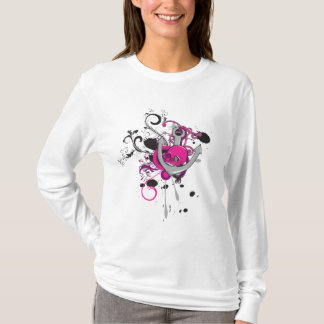 pink gothic skull and anchor vector art design T-Shirt