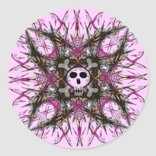 Pink Gothic Skull Fractal Stickers