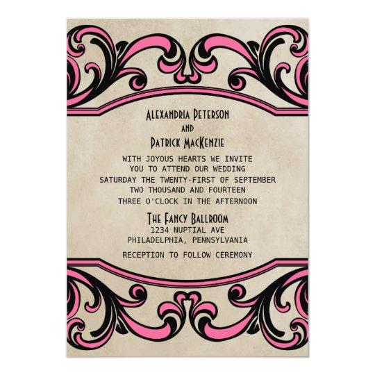 Pink Gothic Swirls Wedding Invite