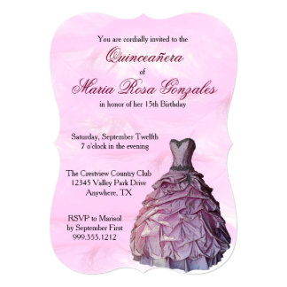 Pink Gown and Feathers Quinceañera Invitations