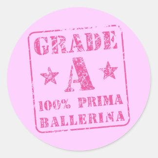 Pink Grade A Prima Ballerina Classic Round Sticker