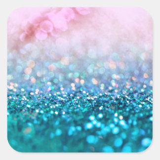 Pink Gradient Blue Teal Sparkle Trendy Glitter Square Sticker