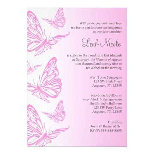 "Pink Gradient Butterfly Bat Mitzvah Invitations 5"" X 7"" Invitation Card   Zazzle"