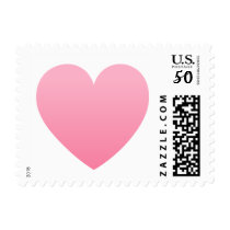 Pink gradient heart love or Valentines day postage