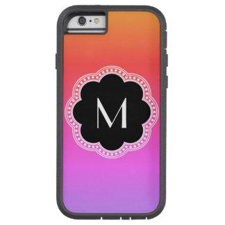 Pink Gradient Noir Style Flower Border Monogram Tough Xtreme iPhone 6 Case