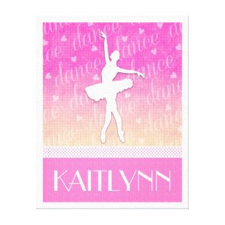 Pink Gradient Passionate Dancer with Hearts Canvas Print