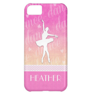 Pink Gradient Passionate Dancer with Hearts iPhone 5C Cases