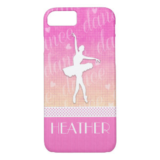 Pink Gradient Passionate Dancer with Hearts iPhone 7 Case