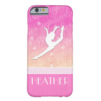 Pink Gradient Passionate Gymnastics with Monogram Barely There iPhone 6 Case