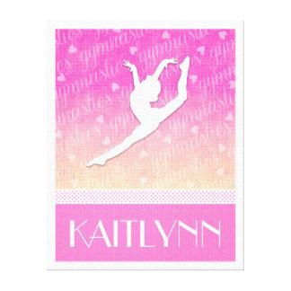 Pink Gradient Passionate Gymnastics with Monogram Canvas Print