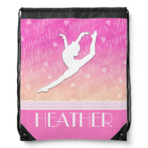 Pink Gradient Passionate Gymnastics with Monogram Drawstring Bag