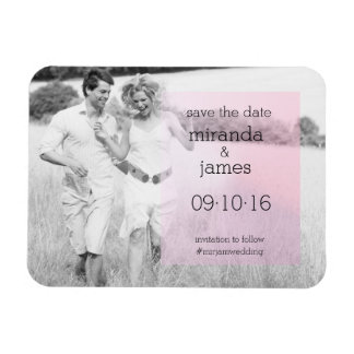Pink Gradient Photo Save the Date Announcement Magnet