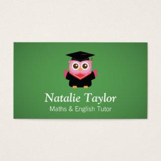 Pink Graduation Owl, Personal Tutor or Teacher Business Card
