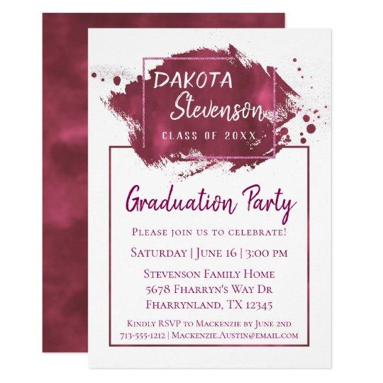 pink graduation paint splatter brushstroke party invitation