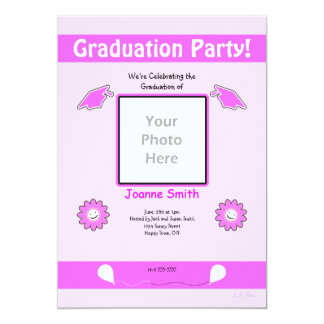 Pink Graduation Photo Smiley Flowers and Caps Card