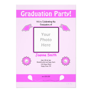 Pink Graduation Photo Smiley Flowers and Caps Announcements