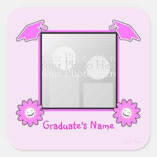 Pink Graduation Smiley Flowers (photo frame) Square Sticker