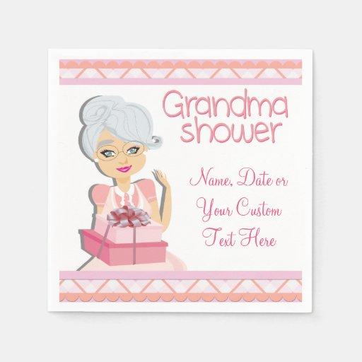 Baby Shower Favors Grandma ~ Pink grandma baby shower party napkins zazzle