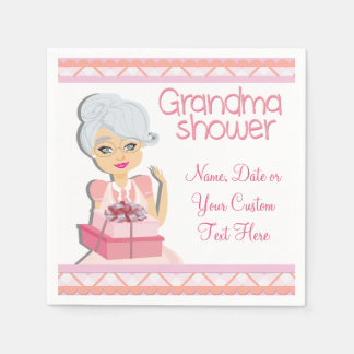 Pink Grandma Baby Shower Party Napkins Paper Napkins