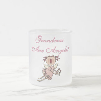 Pink Grandmas Are Angels Tshirts and Gifts 10 Oz Frosted Glass Coffee Mug