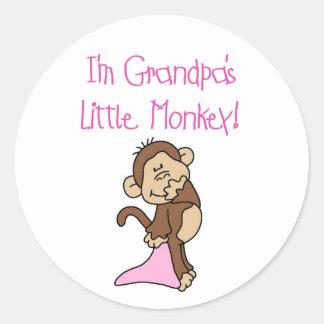 Pink Grandpas Monkey Classic Round Sticker