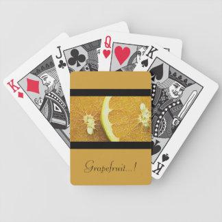 Pink grapefruit bicycle playing cards