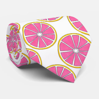 Pink Grapefruit Citrus Fruit Foodie Print Tie